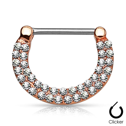 Clear Crystal Paved Nipple Ring, Rose Gold Nipple Clicker