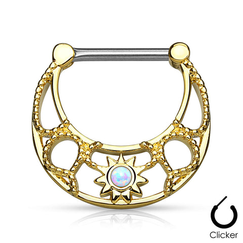 Opal Sunburst Centered Nipple Ring, Gold Plated Nipple Clicker Piercing
