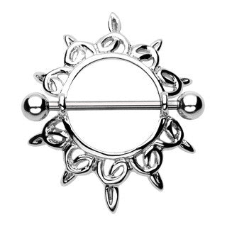 Shining Star Nipple Shield Ring, 19mm Barbell
