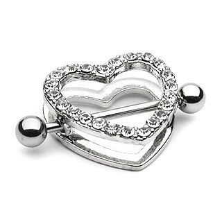 Crystal Paved Heart Nipple Shield