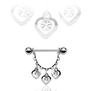 Three Hearts Dangle Nipple Ring, Chain Nipple Barbell