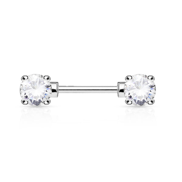 Clear Crystal Nipple Barbell, 316L Surgical Steel Cubic Zirconia Nipple Piercing