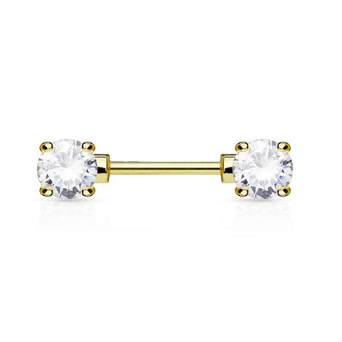 Clear Crystal Nipple Barbell, Gold Barbell Nipple Piercing