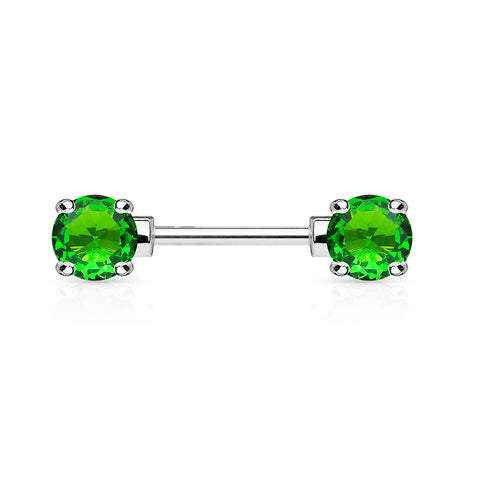 Green Crystal Nipple Barbell, 316L Surgical Steel Cubic Zirconia Nipple Piercing