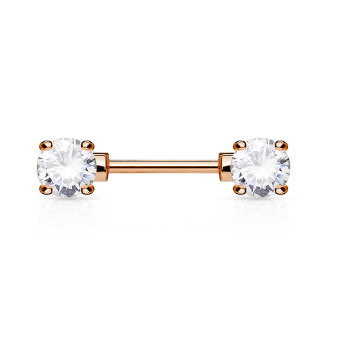 Rose Gold Barbell Nipple Piercing, Clear Crystal Nipple Barbell