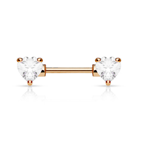 Clear Crystal Heart Nipple Barbell, Rose Gold Barbell Nipple Piercing
