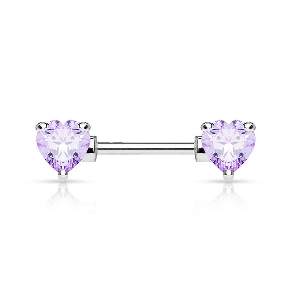 Purple Crystal Heart Nipple Barbell, Silver Barbell Nipple Piercing