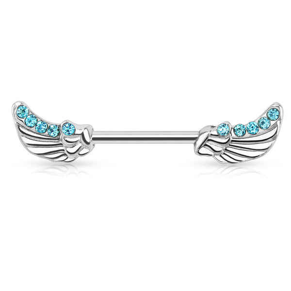 Blue CZ Angels Wings Ends Nipple Barbell
