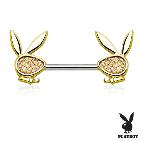 Gold Sparkly Playboy Bunny Ends Nipple Bar