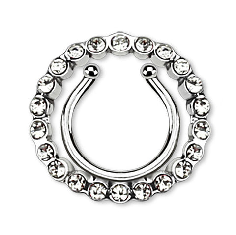 Circle Multi Paved Gem Clip On Nipple Ring, Non Piercing Nipple Ring