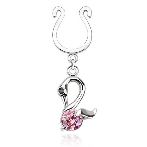 Swan Dangle With Single Pink CZ Clip On Nipple Ring