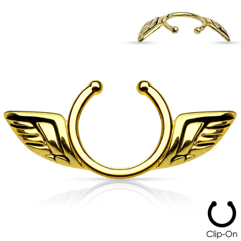 Gold Angel Wings Clip On Nipple Ring Non Piercing Nipple Ring