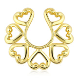 Gold Hearts Clip On Nipple Ring, Non Piercing Nipple Ring