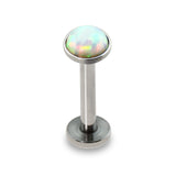 White Opal Press Fit Tragus Forward Helix Labret Monroe Lip Cartilage Bar Stud
