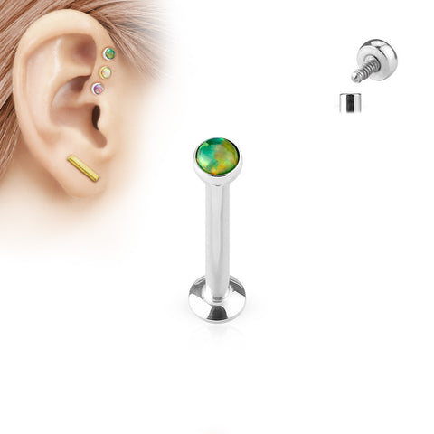 8mm Tragus Forward Helix Labret Monroe Lip Cartilage Bar Stud, Green Opal Labret Stud