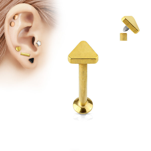 Gold Triangle Labret Bar Stud Lip Monroe Tragus Bar, Internally Threaded Tragus Bar