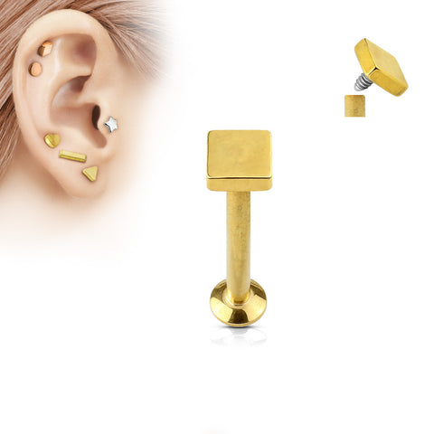 Gold Square Labret Stud Lip Monroe Tragus Bar, Internally Threaded Cartilage Bar