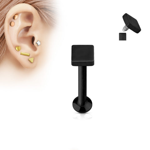 Black Square Labret Stud Lip Monroe Tragus Bar, Internally Threaded Cartilage Bar