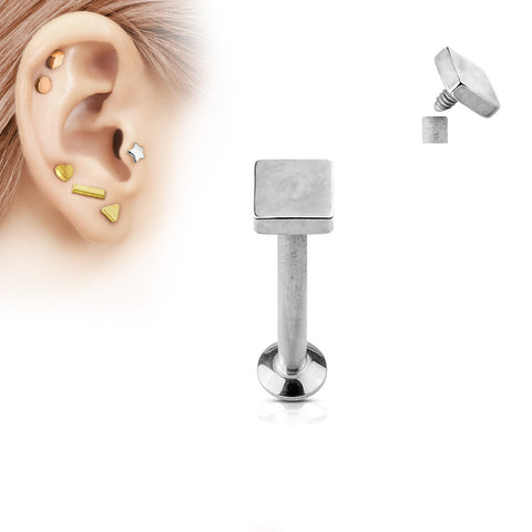 Silver Square Labret Stud Lip Monroe Tragus Bar, Internally Threaded Cartilage Bar