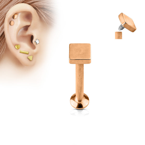 Rose Gold Square Labret Stud Lip Monroe Tragus Bar, Internally Threaded Cartilage Bar