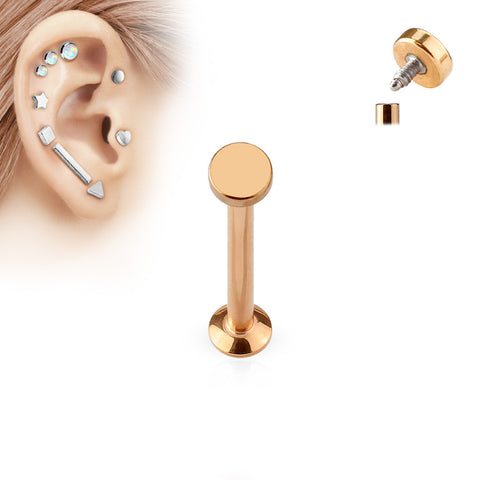 Rose Gold Circle Labret Bar Stud Lip Monroe Tragus Bar, Internally Threaded Tragus Bar