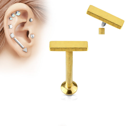 2x6mm Gold Plated Bar Labret Stud Lip Monroe Tragus Bar, Internally Threaded Cartilage Bar | Barre Dorée 2x6mm Labret Stud Lèvre Monroe Tragus Cartilage, Filetage Interne