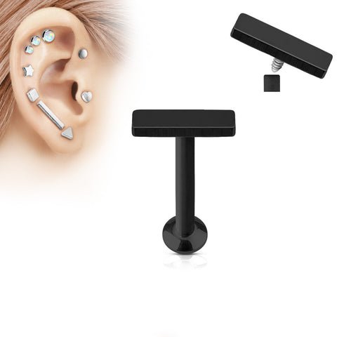 2x6mm Black Bar Labret Stud Lip Monroe Tragus Bar, Internally Threaded Cartilage Bar | Barre Noire 2x6mm Labret Stud Lèvre Monroe Tragus Cartilage, Filetage Interne