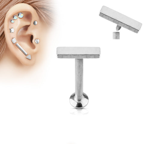 2x6mm Silver Bar Labret Stud Lip Monroe Tragus Bar, Internally Threaded Cartilage Bar | Barre Argentée 2x6mm Labret Stud Lèvre Monroe Tragus Cartilage, Filetage Interne