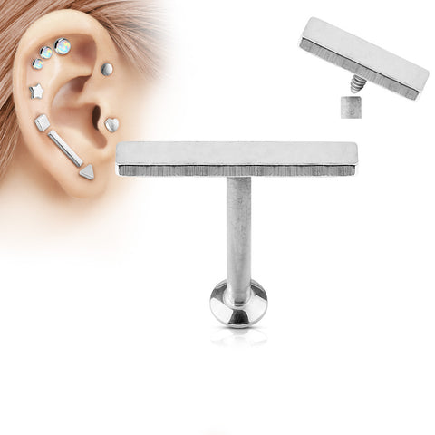 2x12mm Silver Bar Labret Stud Lip Monroe Tragus Bar, Internally Threaded Cartilage Bar | Barre Argentée 2x12mm Labret Stud Lèvre Monroe Tragus Cartilage, Filetage Interne