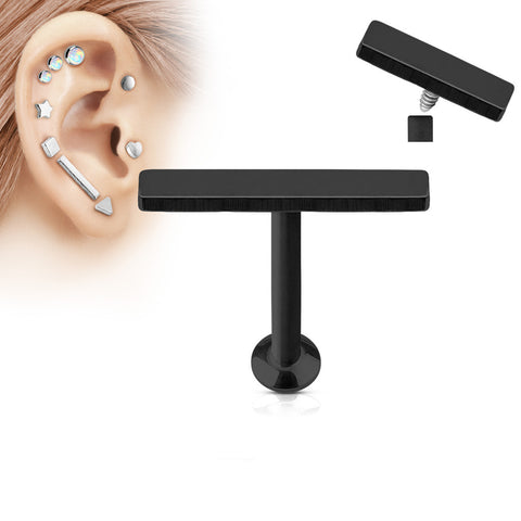 2x12mm Black Bar Labret Stud Lip Monroe Tragus Bar, Internally Threaded Cartilage Bar | Barre Noire 2x12mm Labret Stud Lèvre Monroe Tragus Cartilage, Filetage Interne