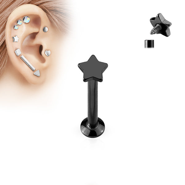 Black Star Labret Bar Stud Lip Monroe Tragus Bar