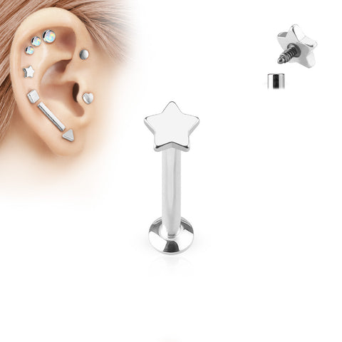 Silver Star Labret Bar Stud Lip Monroe Tragus Bar