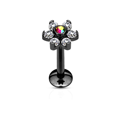 Black Flower Labret Bar Stud, Internally Threaded Cartilage Stud