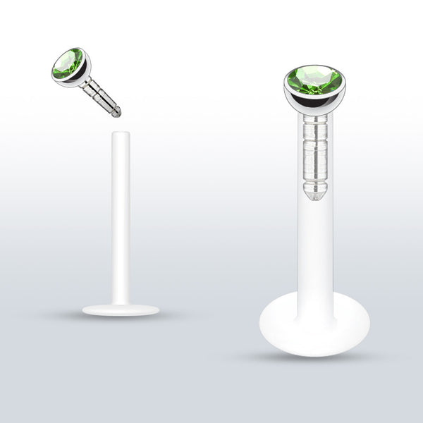 Green Push In Crystal Bioplast Flexible Labret Piercing, Lip, Helix, Cartilage, Monroe CZ Stud