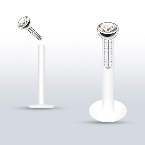 Clear Crystal Push In Bioplast Flexible Labret Piercing, Lip, Helix, Cartilage, Monroe CZ Stud