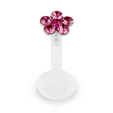 Pink Crystal Flower Bioplast Flexible Lip, Helix, Cartilage, Monroe Piercing