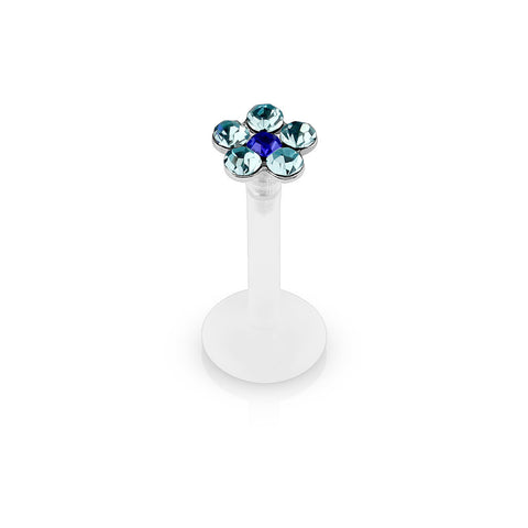 Blue Crystal Flower Bioplast Flexible Lip, Helix, Cartilage, Monroe Piercing