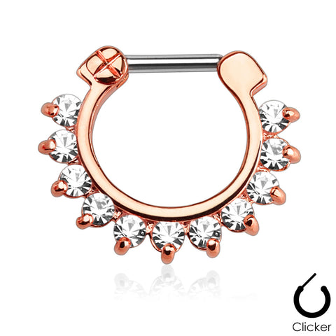 Rose Gold Pronged Gems Septum / Daith Clicker Ring