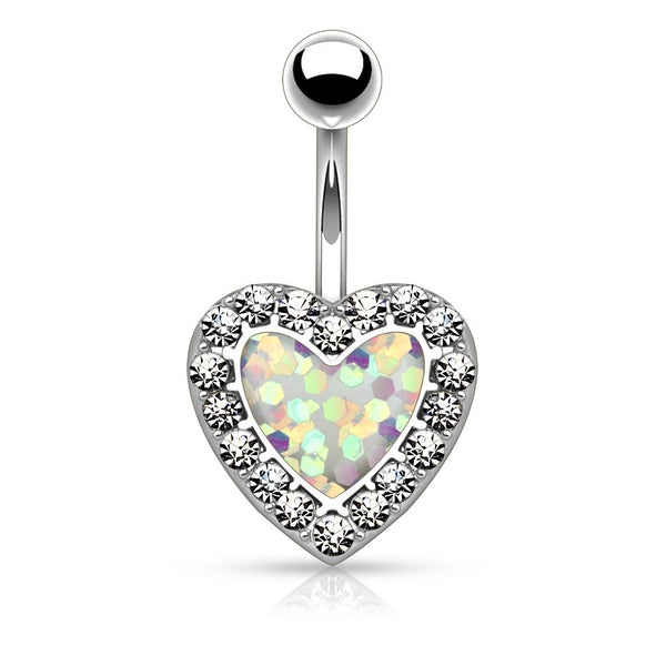 Non Dangle White Opal Heart Navel Ring