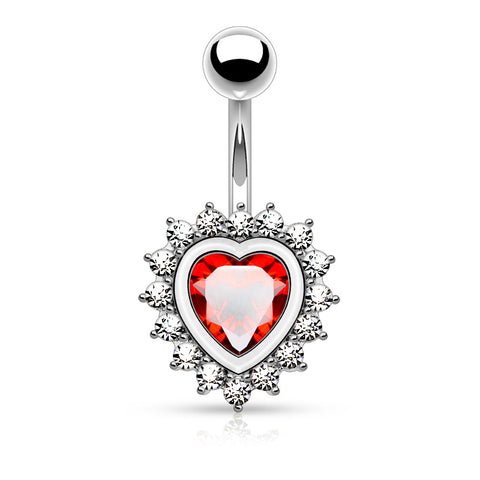 Red Centered Crystal Heart Belly Button Ring