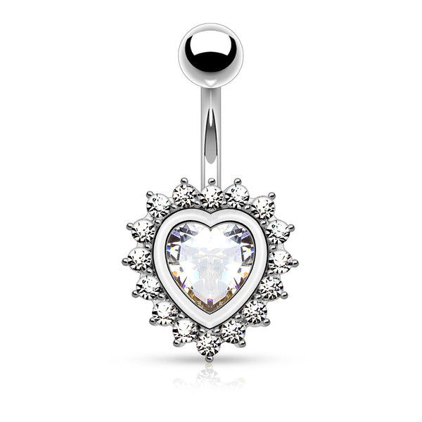 Silver Crystal Heart Belly Button Ring