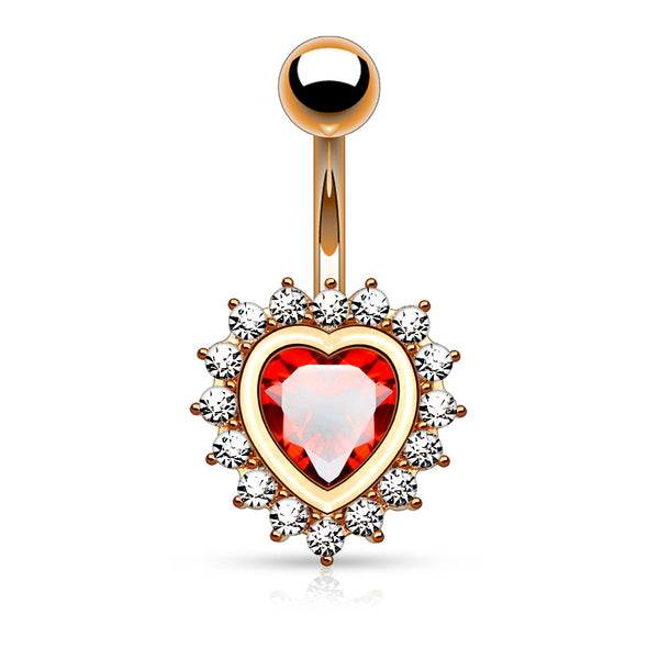 Red Crystal Centered Heart Belly Button Ring