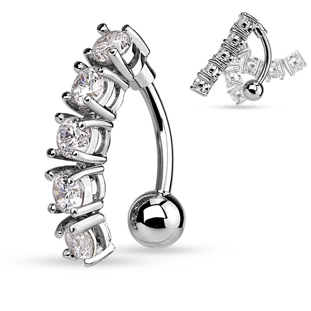 Crystal Bar Non Dangle Navel Ring Silver Belly Button Ring