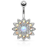 White Opal Centered Flower Belly Button Ring, Non Dangle Crystal Navel Ring