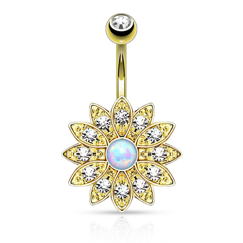 Gold Flower Navel Ring, White Opal Centered Flower Belly Button Ring