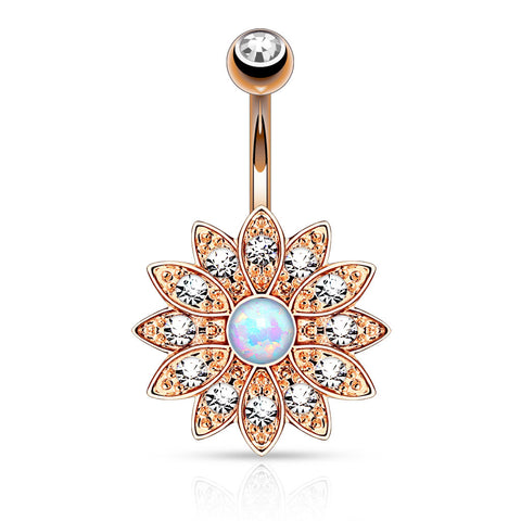 Rose Gold Flower Navel Ring, White Opal Centered Flower Belly Button Ring