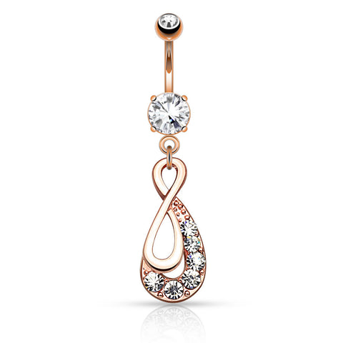 Rose Gold Infinity Dangle Belly Button Ring