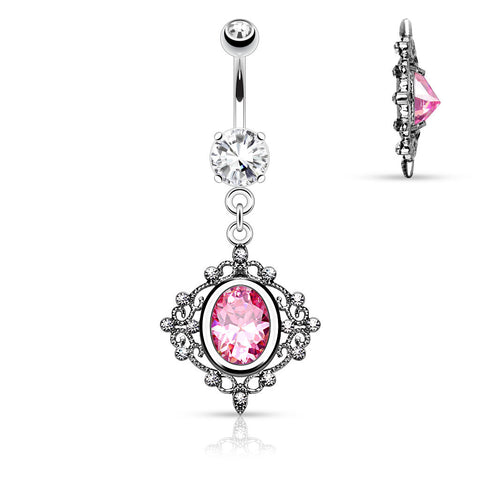 Filigree Design With Pink Crystal Dangle Belly Button Ring