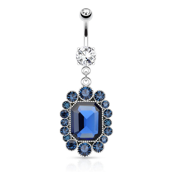 Pave Blue Cubic Zirconia Crystal Dangle Navel Ring