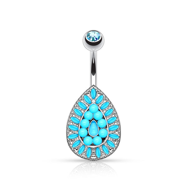 Turquoise Teardrop Non Dangle Belly Button Ring, Beaded Navel Ring
